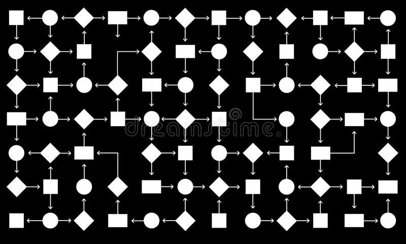 Flow chart. Pattern of shapes and arrows creating a large flow chart vector illustration