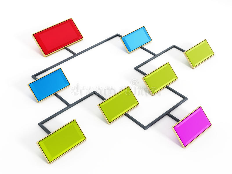 Flow chart. In red, blue and green color tones on white background royalty free illustration