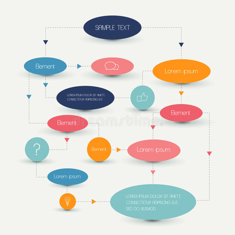 Flow chart scheme. Infographics elements. Vector design royalty free illustration