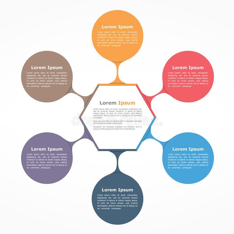 Flow Chart Six Elements. Circle diagram with six elements with and text, flow chart template, business infographics stock illustration
