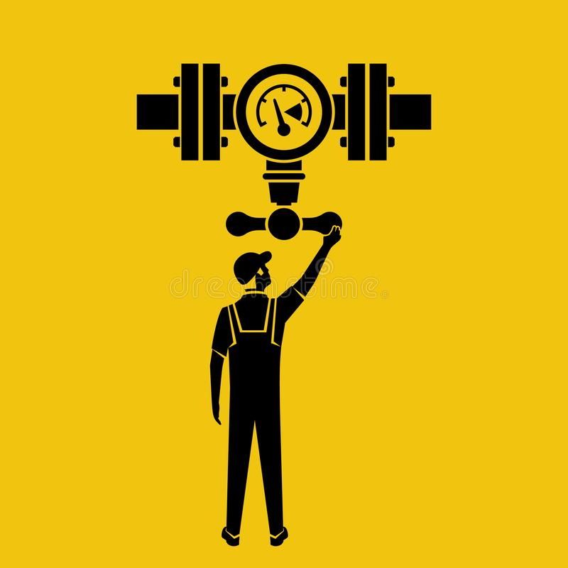 Flow control black icon. Vector illustration flat design. Isolated on yellow background. Silhouette man working standing on the pipeline opening the valve. Oil stock illustration