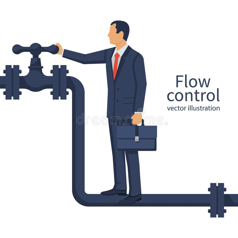 Flow control. Vector. Illustration flat design. Isolated on white background. Businessman standing on the pipeline opening the valve. Open close oil vector illustration