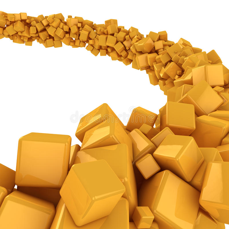 Flow of cubes. Flow of many yellow cubes on the white background stock illustration