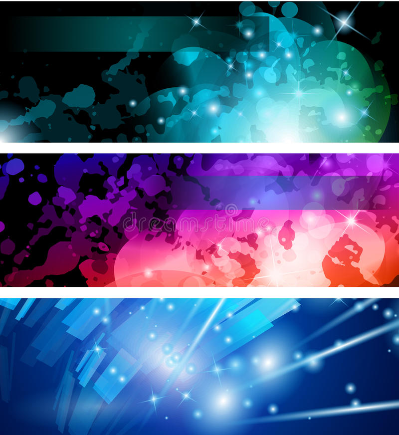 Flow of lights header backgrounds. Abstract Business Card Collection: Flow of lights header backgrounds with abstract motive and rainbow colurs royalty free illustration