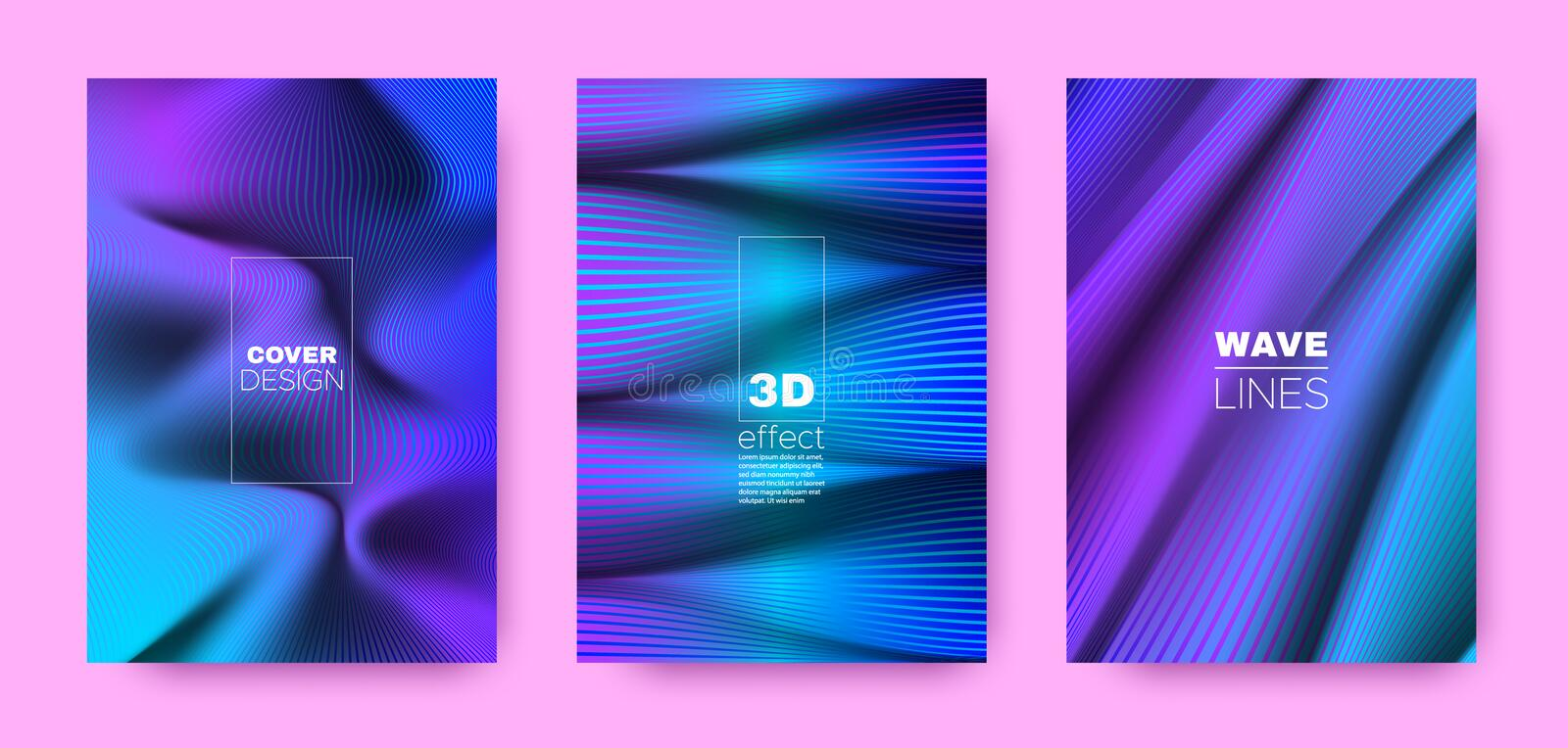Flow Linear Poster. Cyan Abstract Covers Set. Movement Brochure. 3d Geometric Vibrant Gradient. Multicolor Fluid Lines Poster. Design Covers Set. Movement royalty free illustration