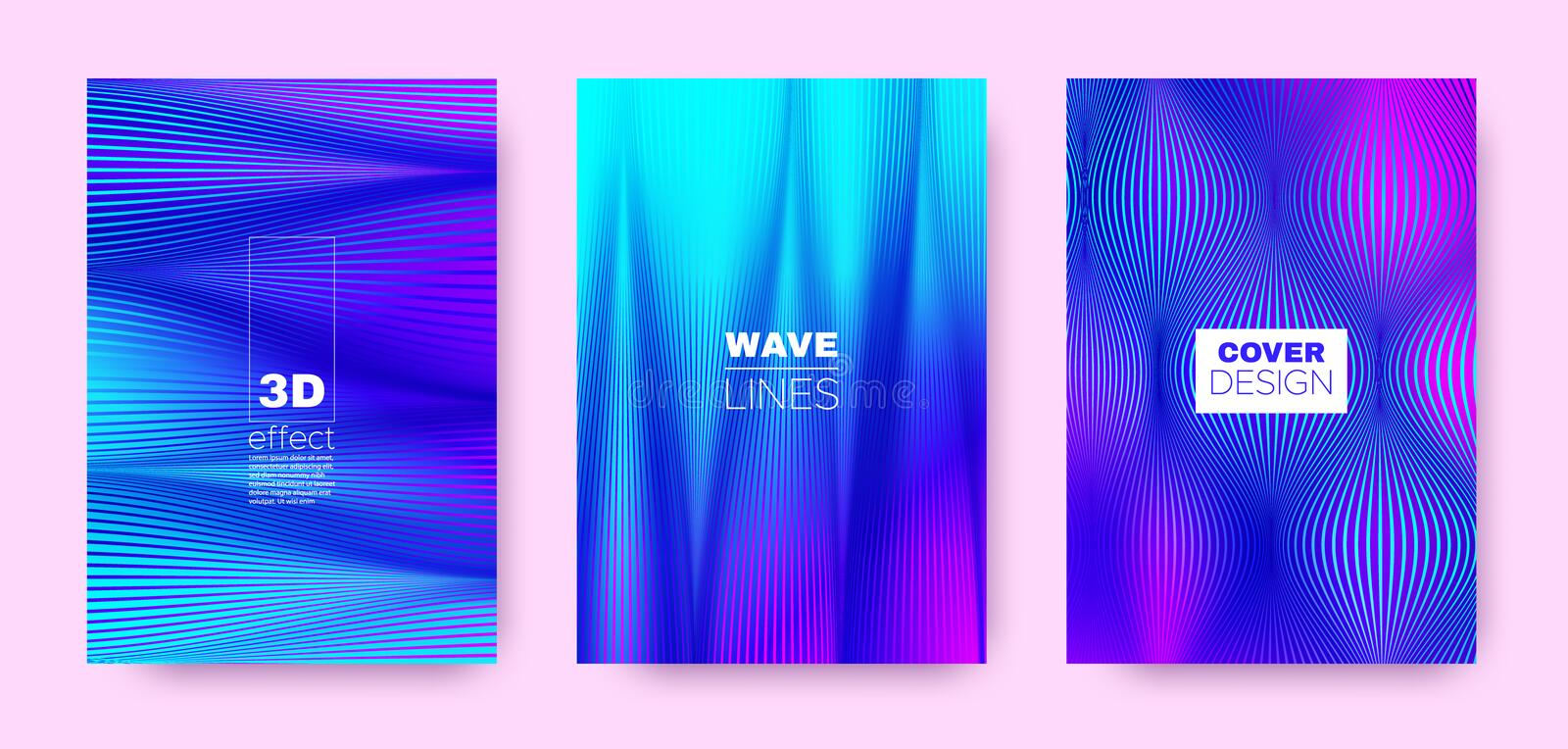 Flow Linear Poster. Magenta Abstract Covers Set. Movement Brochure. 3d Distorted Halftone Texture. Colorful Fluid Stripe Poster. Abstract Covers Set. Movement royalty free illustration