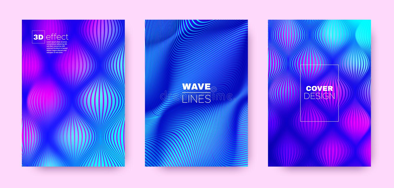 Flow Linear Poster. Violet Abstract Covers Set. Dynamic Brochure. 3d Distorted Halftone Gradient. Purple Fluid Stripe Poster. Abstract Covers Set. Dynamic stock illustration