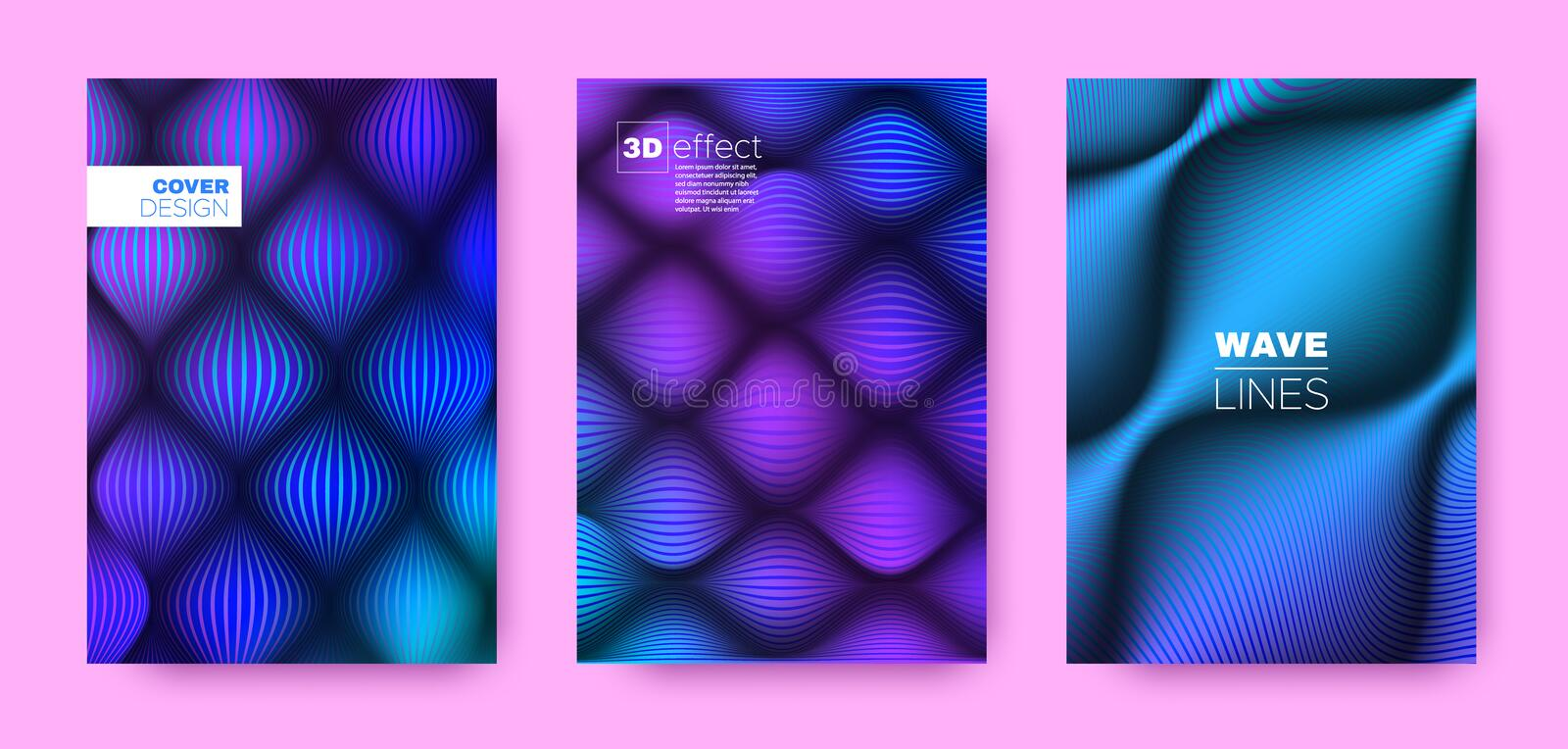 Flow Lines Poster. Cyan Design Covers Set. Dynamic Background. 3d Geometric Halftone Texture. Cyan Flow Lines Poster. Vector Covers Set. Dynamic Background royalty free illustration