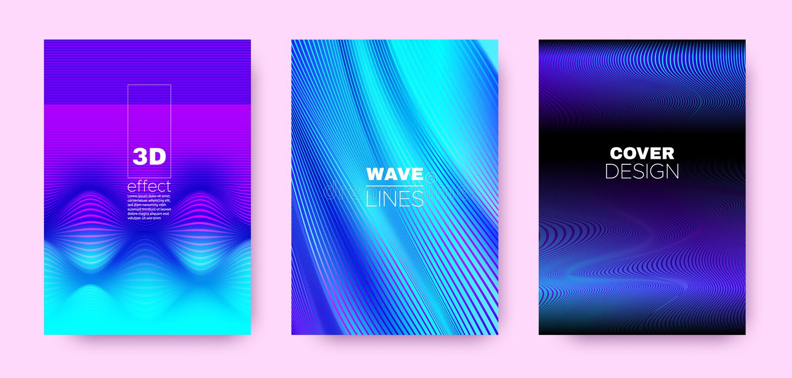 Flow Lines Poster. Multicolor Vector Covers Set. Dynamic Background. 3d Geometric Halftone Texture. Magenta Wave Stripe Poster. Vector Covers Set. Movement stock illustration