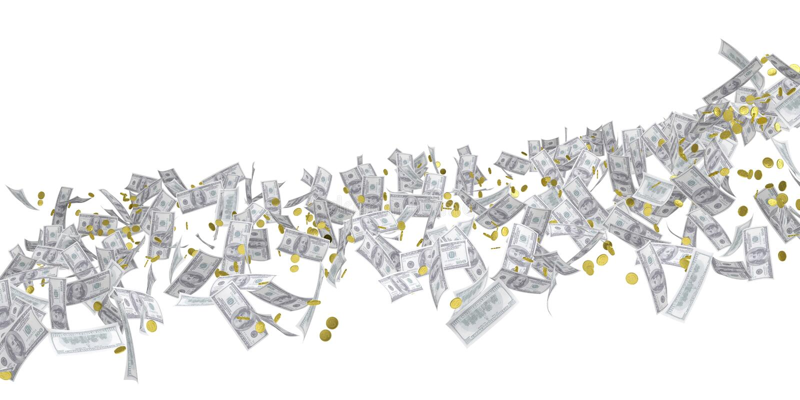 Flow of money. Dollar. Isolated 3d rendering vector illustration