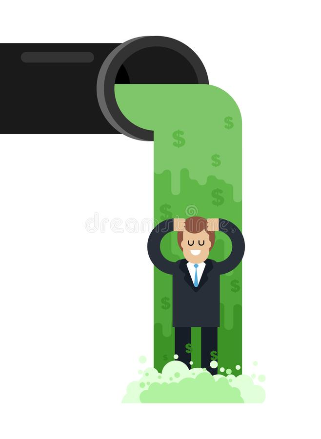 Flow of money from pipe. River of cash. Flow of dollars. Profit stock illustration