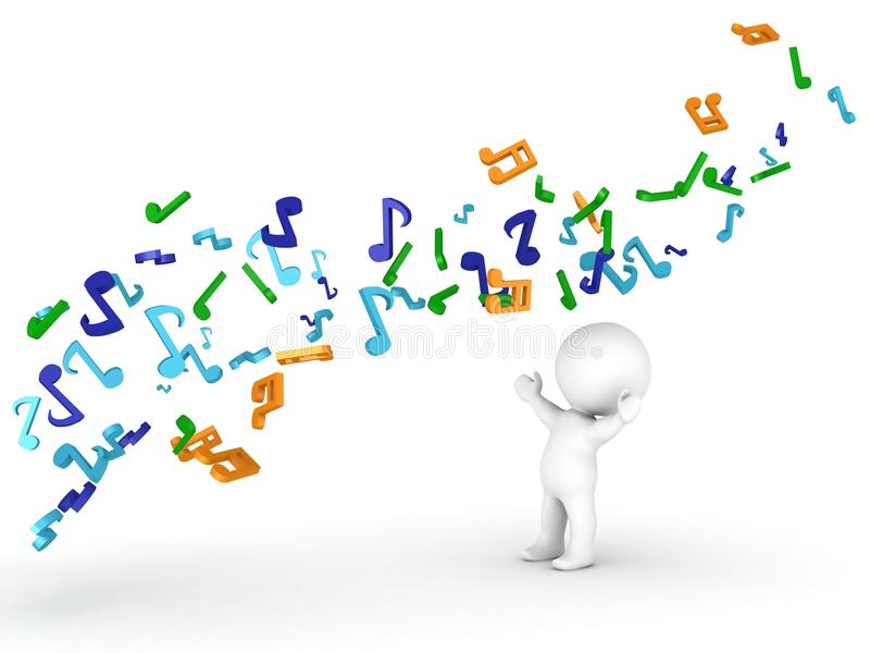 Flow of Musical Notes over 3D Man. A 3d man and a flow of musical notes above him stock illustration