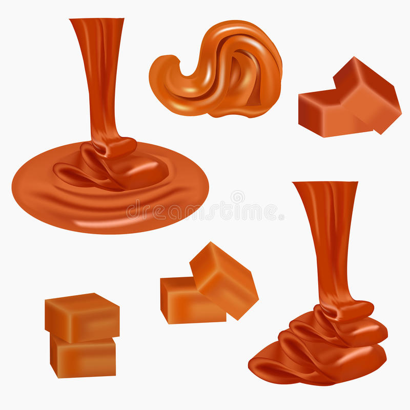 Flow, pouring sweet caramel.Caramel candies,square,toffee,pieces of fudge, sauce. Melted caramel cream. Peanut butter royalty free illustration