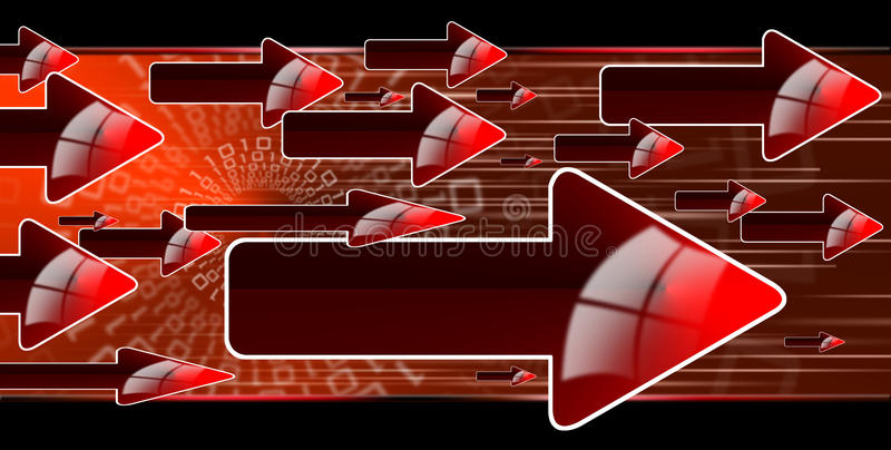 Flow red arrows. Abstract background with red arrows, internet connection and flow royalty free illustration