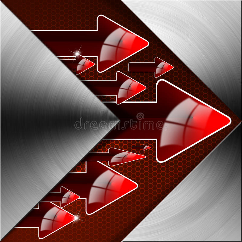 Flow Red Arrows Background. Metal abstract background with red arrows and flow vector illustration
