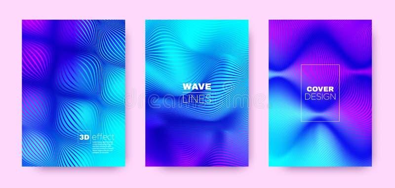 Flow Stripe Poster. Colorful Design Covers Set. Dynamic Illustration. 3d Geometric Halftone Texture. Violet Fluid Lines Poster. Design Covers Set. Movement stock illustration