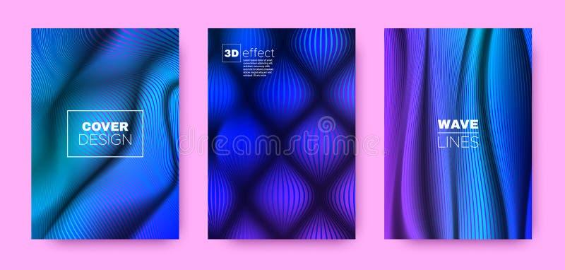 Flow Stripe Poster. Multicolor Modern Covers Set. Dynamic Brochure. 3d Geometric Halftone Gradient. Blue Fluid Stripe Poster. Design Covers Set. Dynamic stock illustration