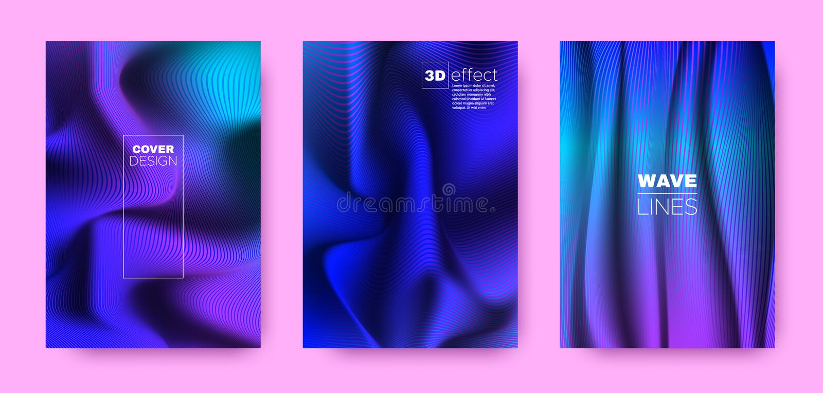 Flow Stripe Poster. Purple Modern Covers Set. Movement Brochure. 3d Distorted Vibrant Gradient. Violet Wave Stripe Poster. Vector Covers Set. Movement vector illustration