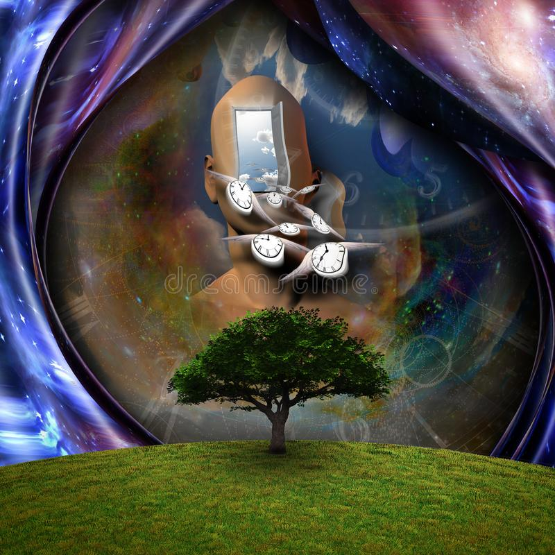 Flow of Time. Surrealism. Flow of Time through space. Human elements were created with 3D software and are not from any actual human likenesses royalty free illustration