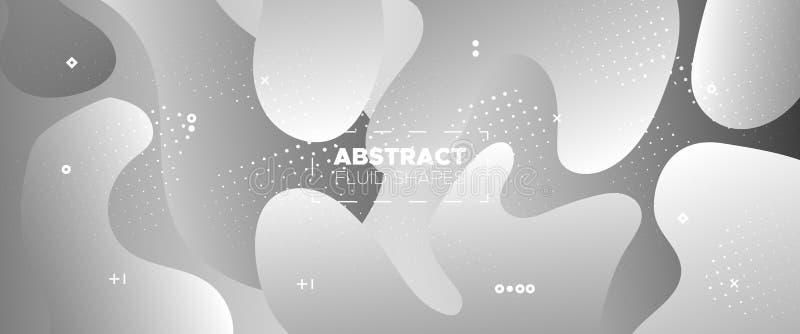 Flow Wave Poster. Metallic Modern Gradient. White. Geometric Pattern. Graphics Brochure. 3d Fluid Background. Gradient Template. Geometric Element. Monochrome vector illustration