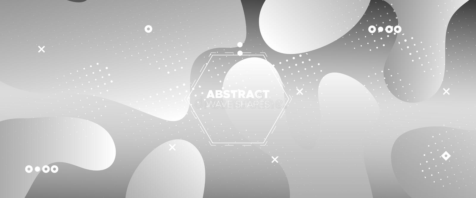 Flow Wave Poster. Monochrome Gradient Template. White Web Presentation. Creative Layout. 3d Fluid Background. Modern Gradient. Geometric Pattern. Metallic vector illustration