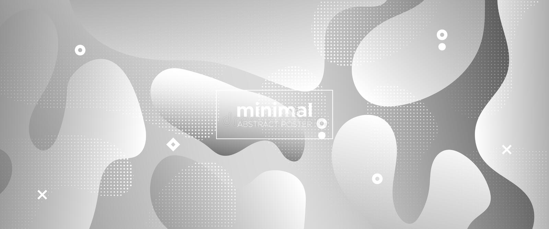Flow Wave Poster. Monochrome Memphis Wallpaper. Gray Web Presentation. Creative Layout. 3d Fluid Background. Gradient Template. Geometric Pattern. Metallic royalty free illustration