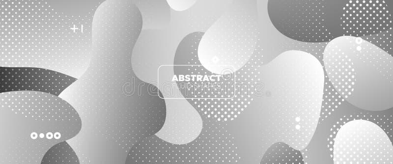 Flow Wave Poster. Monochrome Modern Gradient. Gray Web Presentation. Movement Concept. Wave Fluid Shapes. Gradient Template. Geometric Pattern. Metallic vector illustration