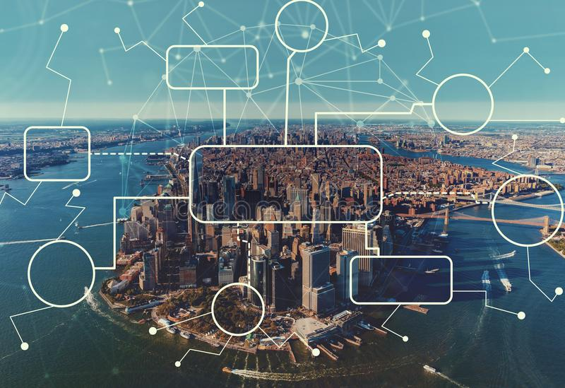 Flowchart with aerial view of NY skyline. Flowchart with aerial view of Manhattan, NY skyline royalty free stock images