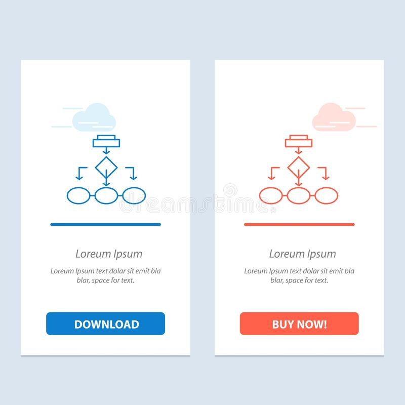 Flowchart, Algorithm, Business, Data Architecture, Scheme, Structure, Workflow  Blue and Red Download and Buy Now web Widget Card vector illustration