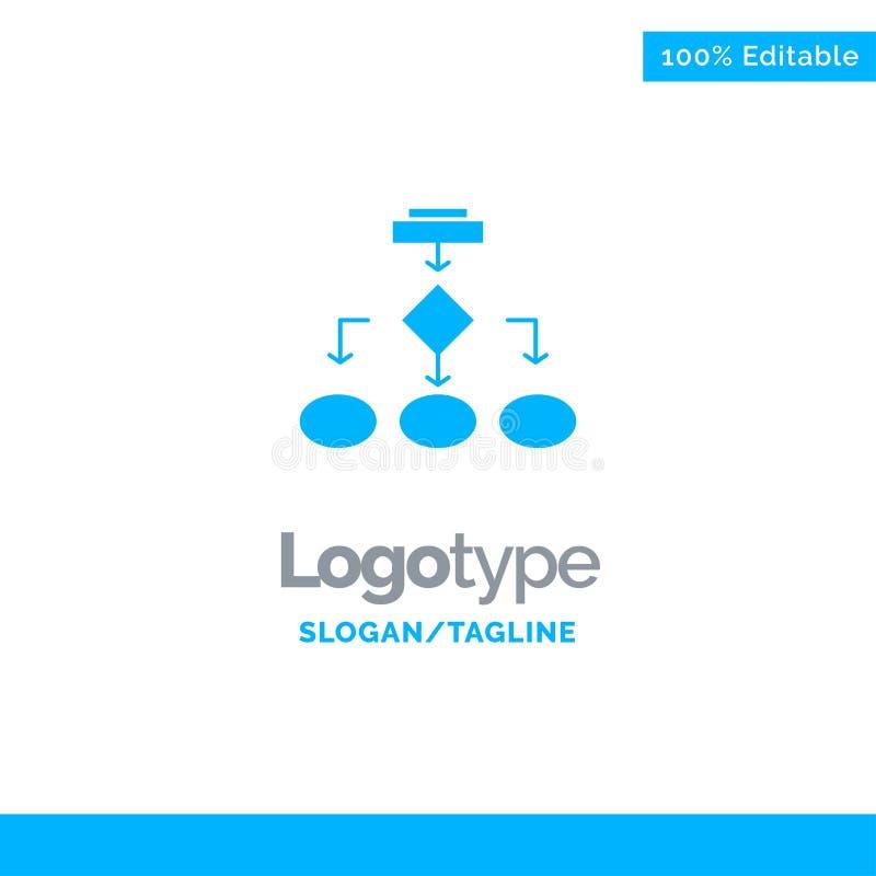 Flowchart, Algorithm, Business, Data Architecture, Scheme, Structure, Workflow Blue Solid Logo Template. Place for Tagline vector illustration