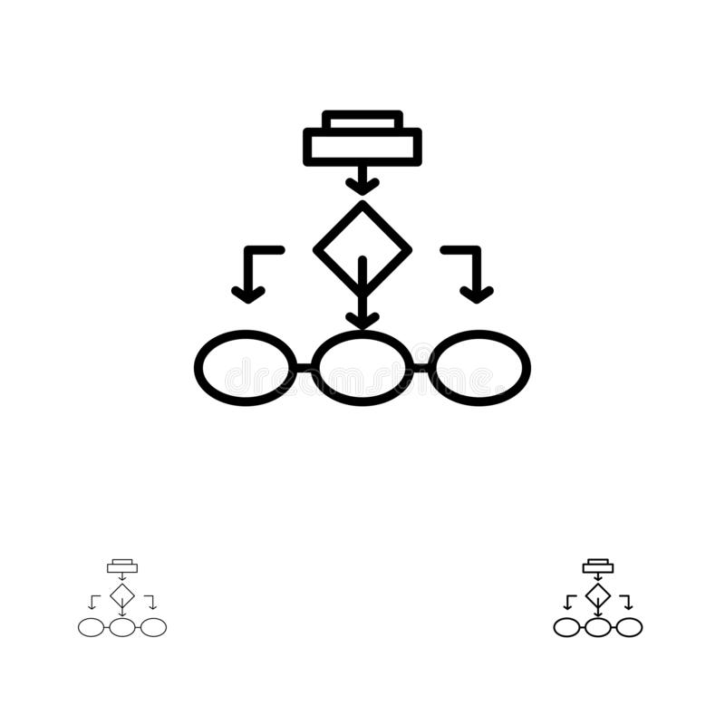 Flowchart, Algorithm, Business, Data Architecture, Scheme, Structure, Workflow Bold and thin black line icon set vector illustration