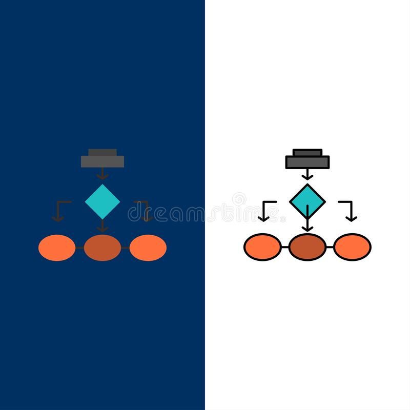 Flowchart, Algorithm, Business, Data Architecture, Scheme, Structure, Workflow  Icons. Flat and Line Filled Icon Set Vector Blue royalty free illustration
