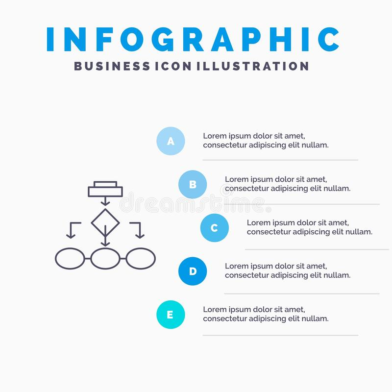 Flowchart, Algorithm, Business, Data Architecture, Scheme, Structure, Workflow Line icon with 5 steps presentation infographics vector illustration