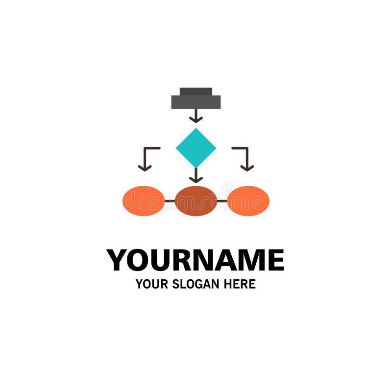 Flowchart, Algorithm, Business, Data Architecture, Scheme, Structure, Workflow Business Logo Template. Flat Color stock illustration