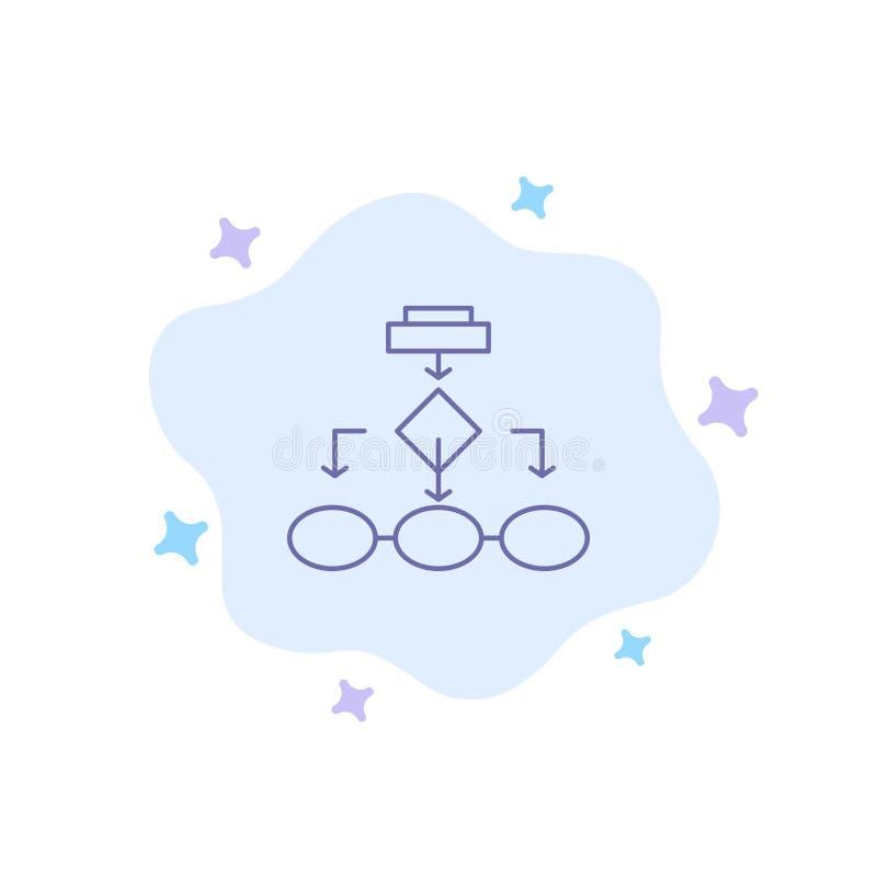 Flowchart, algorytm, biznes, dane architektura, plan, struktura, obieg Błękitna ikona na abstrakt chmury tle royalty ilustracja