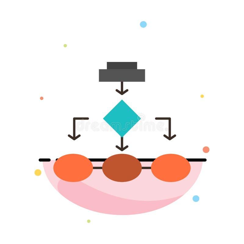Flowchart, algorytm, biznes, dane architektura, plan, struktura, obieg koloru ikony Abstrakcjonistyczny Płaski szablon ilustracja wektor