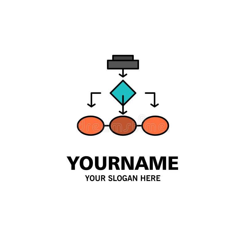 Flowchart, algorytm, biznes, dane architektura, plan, struktura, obieg logo Biznesowy szablon p?aski kolor ilustracja wektor