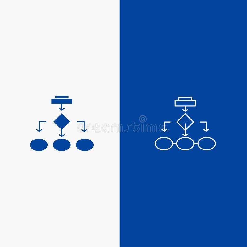 Flowchart, algorytmu, biznesu, dane architektury, planu, struktury, obieg linii i glifu Stałej ikony sztandaru Błękitna linia, i royalty ilustracja