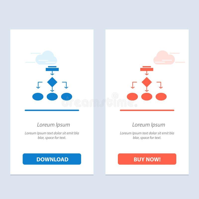 Flowchart, algorytmu, biznesu, dane architektury, planu, struktury, obieg sieci Widget karta, Błękitnej i Czerwonej ściągania i z ilustracji