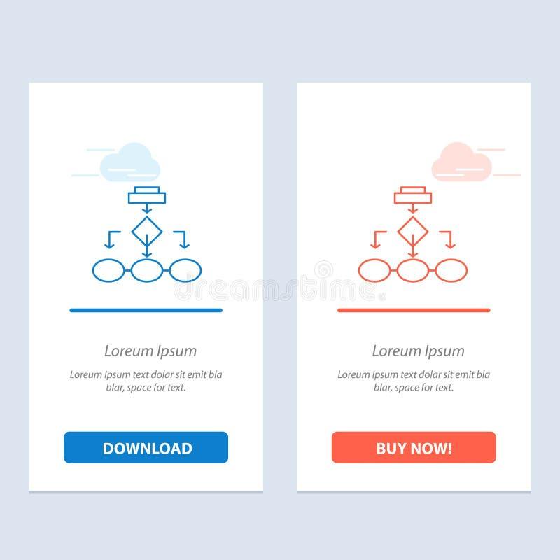 Flowchart, algorytmu, biznesu, dane architektury, planu, struktury, obieg sieci Widget karta, Błękitnej i Czerwonej ściągania i z ilustracja wektor