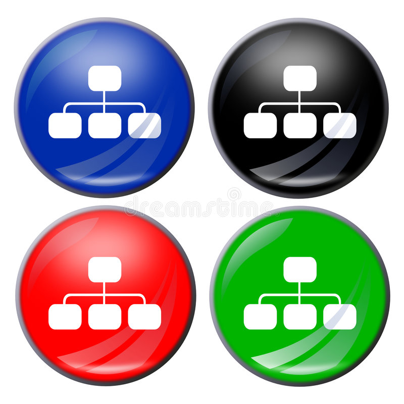 Flowchart button. Illustration of a flowchart button in four colors vector illustration