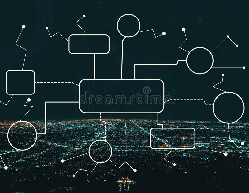 Flowchart with Downtown Los Angeles. At night vector illustration