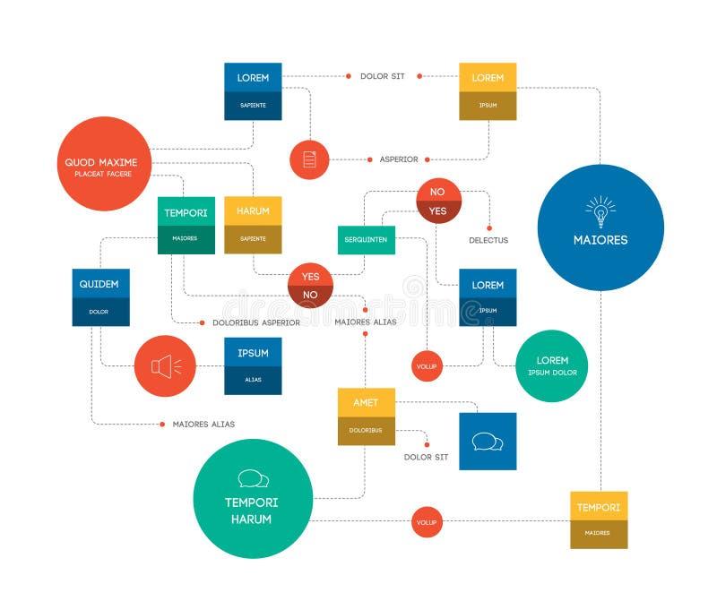 Flowchart duży Szablon, plan, diagram, infographic royalty ilustracja