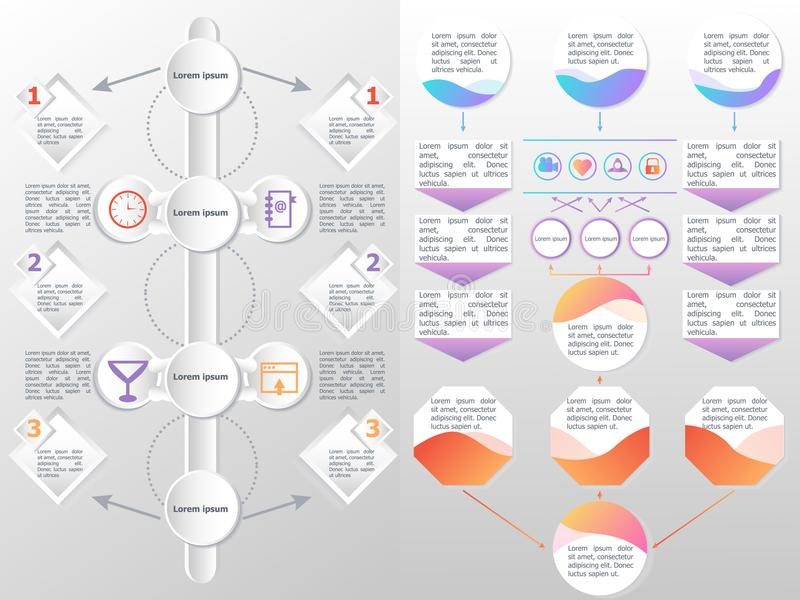 Flowchart elements different arrows. For creating personalized charts. Abstract infographics. Vector business template for presentation stock illustration