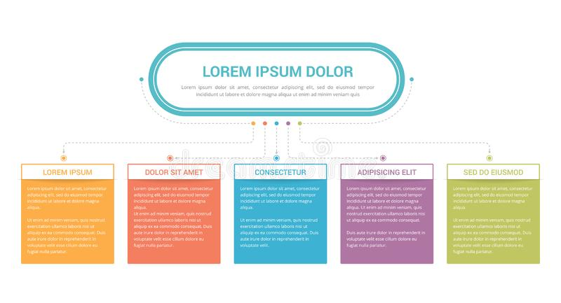 Flowchart with 5 Elements stock illustration