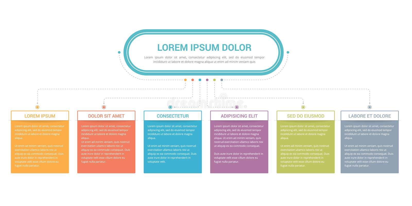 Flowchart with 5 Elements. Flowchart with main title and 6 elements, workflow, process, infographic template royalty free illustration
