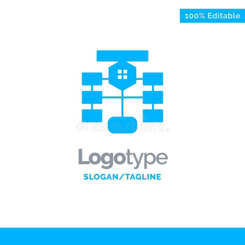 Flowchart, Flow, Chart, Data, Database Blue Business Logo Template royalty free illustration