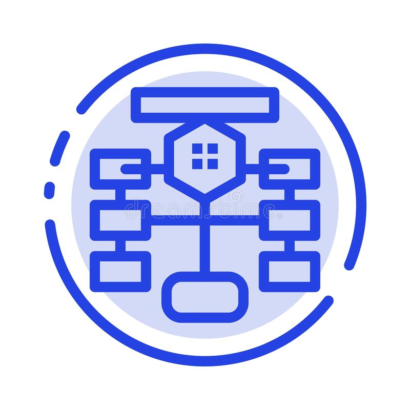 Flowchart, Flow, Chart, Data, Database Blue Dotted Line Line Icon vector illustration