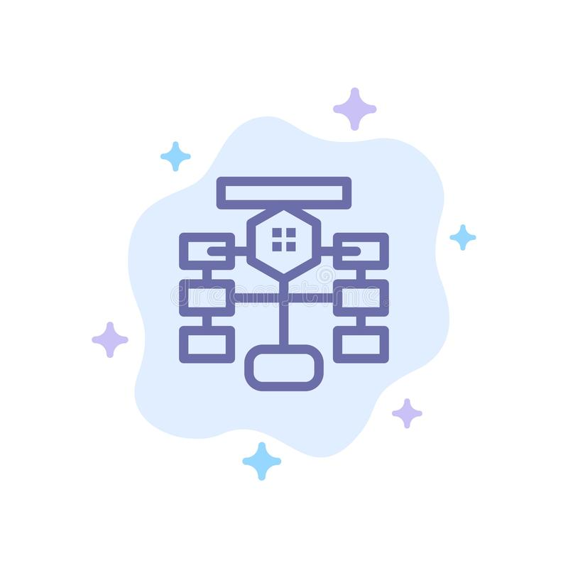Flowchart, Flow, Chart, Data, Database Blue Icon on Abstract Cloud Background royalty free illustration