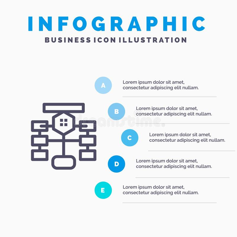 Flowchart, Flow, Chart, Data, Database Blue Infographics Template 5 Steps. Vector Line Icon template stock illustration